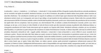 Discittadinanza, richiesta di dimissioni dallo Stato della Repubblica Italiana